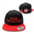 BR text logo snapback hat (Black / Red) - Front and back (800x800)