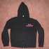 Zipped hoodie with pink Bad Religion text (womens) - Front (1000x750)