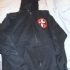 Zipped hoodie with Inverted Crossbuster (Black) - Front (391x500)