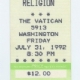 7/31/1992 - Houston, TX - unused ticket